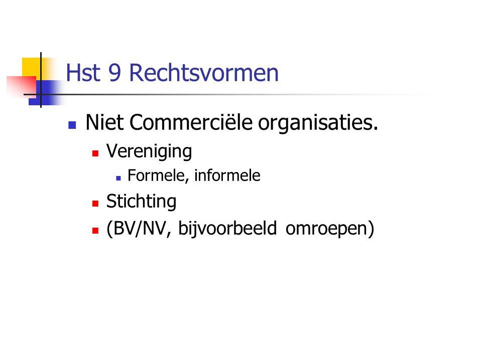 Hst 9 Rechtsvormen  Niet Commerciële organisaties.  Vereniging  Formele, informele  Stichting  (BV/NV, bijvoorbeeld omroepen)