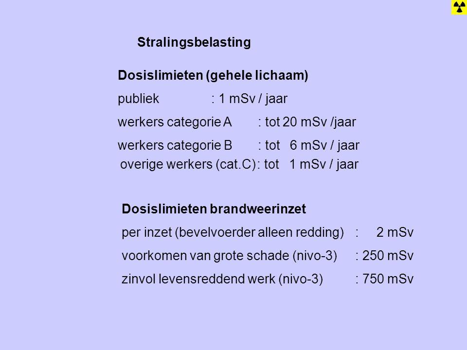 Stralingsbelasting Dosislimieten (gehele lichaam) publiek: 1 mSv / jaar werkers categorie A: tot 20 mSv /jaar werkers categorie B: tot 6 mSv / jaar Dosislimieten brandweerinzet per inzet (bevelvoerder alleen redding) : 2 mSv voorkomen van grote schade (nivo-3): 250 mSv zinvol levensreddend werk (nivo-3): 750 mSv overige werkers (cat.C): tot 1 mSv / jaar