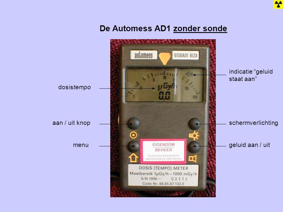 """De Automess AD1 zonder sonde schermverlichting geluid aan / uit aan / uit knop menu indicatie """"geluid staat aan"""" dosistempo"""