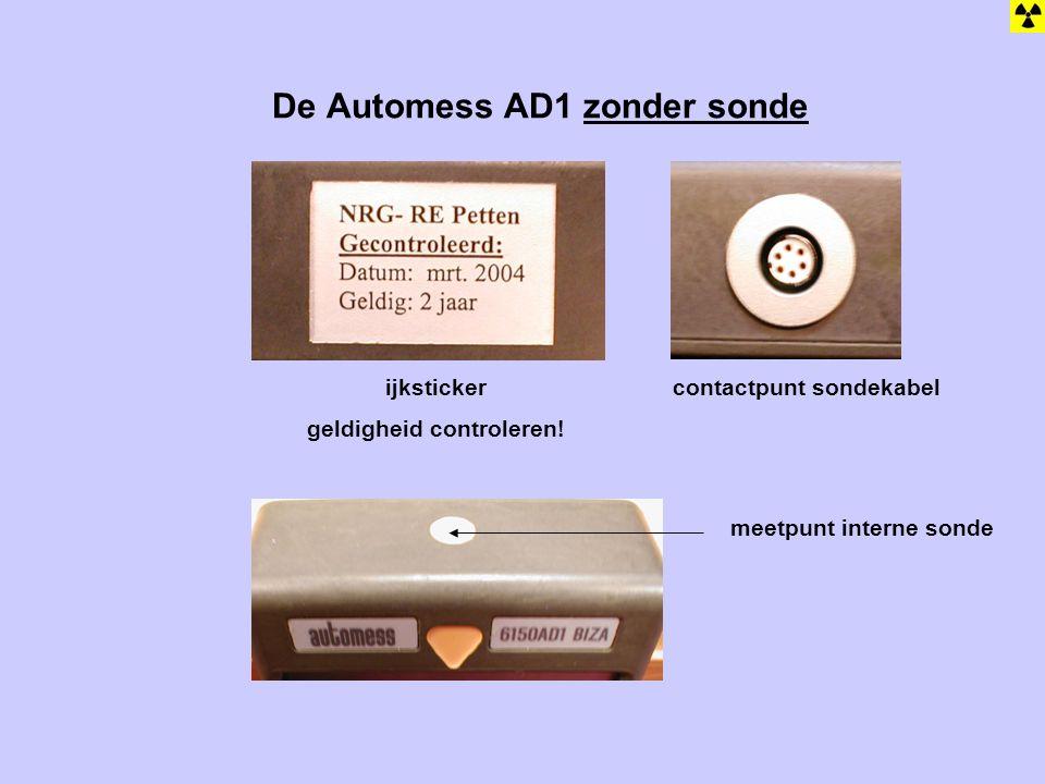 De Automess AD1 zonder sonde ijksticker geldigheid controleren! contactpunt sondekabel meetpunt interne sonde