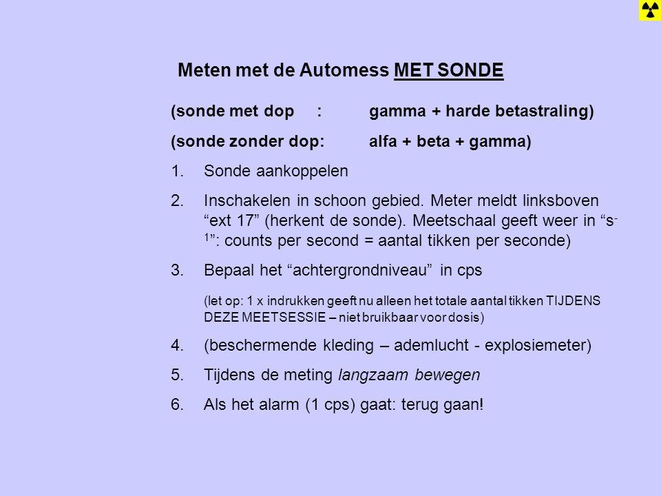 Meten met de Automess MET SONDE (sonde met dop : gamma + harde betastraling) (sonde zonder dop: alfa + beta + gamma) 1.Sonde aankoppelen 2.Inschakelen in schoon gebied.