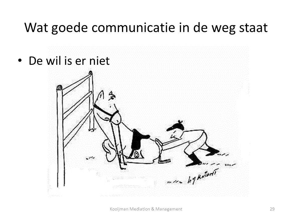 • De wil is er niet Wat goede communicatie in de weg staat Kooijman Mediation & Management29
