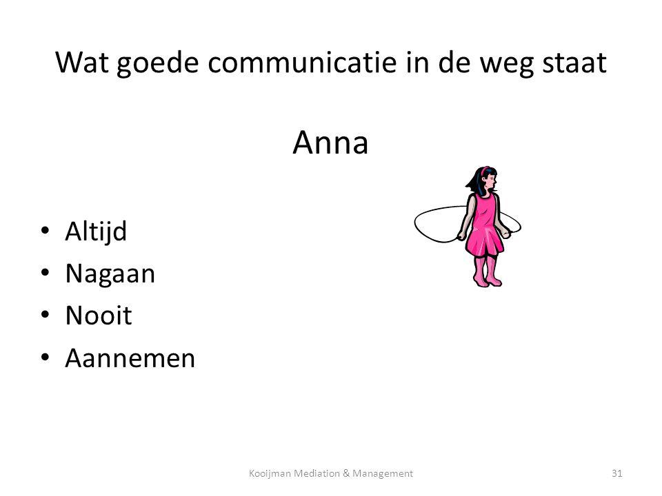 Wat goede communicatie in de weg staat Anna • Altijd • Nagaan • Nooit • Aannemen Kooijman Mediation & Management31