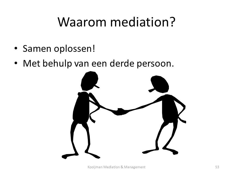 Waarom mediation? • Samen oplossen! • Met behulp van een derde persoon. Kooijman Mediation & Management53