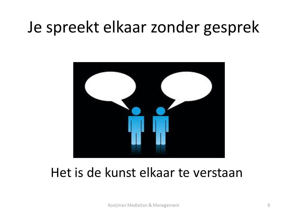 Je spreekt elkaar zonder gesprek Het is de kunst elkaar te verstaan Kooijman Mediation & Management9