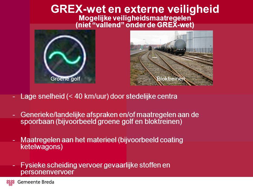 """GREX-wet en externe veiligheid Mogelijke veiligheidsmaatregelen (niet """"vallend"""" onder de GREX-wet) Groene golfBloktreinen -Lage snelheid (< 40 km/uur)"""
