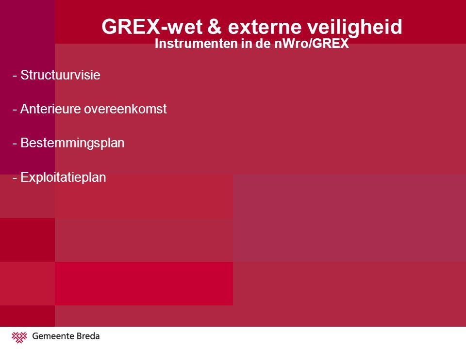 - Structuurvisie - Anterieure overeenkomst - Bestemmingsplan - Exploitatieplan GREX-wet & externe veiligheid Instrumenten in de nWro/GREX