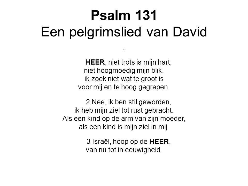 Psalm 131 Een pelgrimslied van David. HEER, niet trots is mijn hart, niet hoogmoedig mijn blik, ik zoek niet wat te groot is voor mij en te hoog gegre