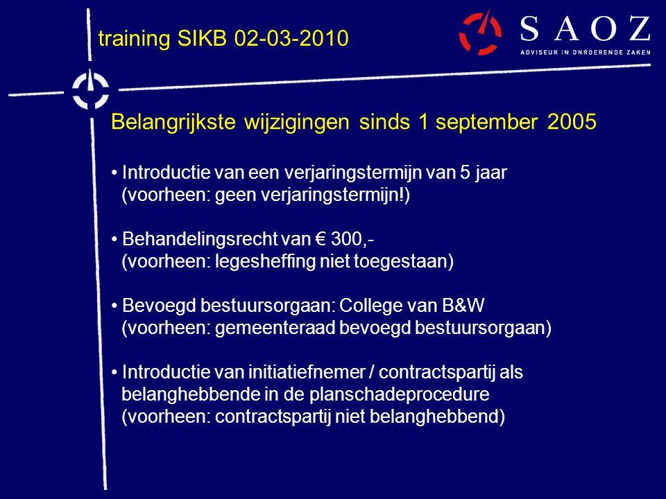 training SIKB 02-03-2010 Belangrijkste wijzigingen sinds 1 september 2005 • Introductie van een verjaringstermijn van 5 jaar (voorheen: geen verjaring