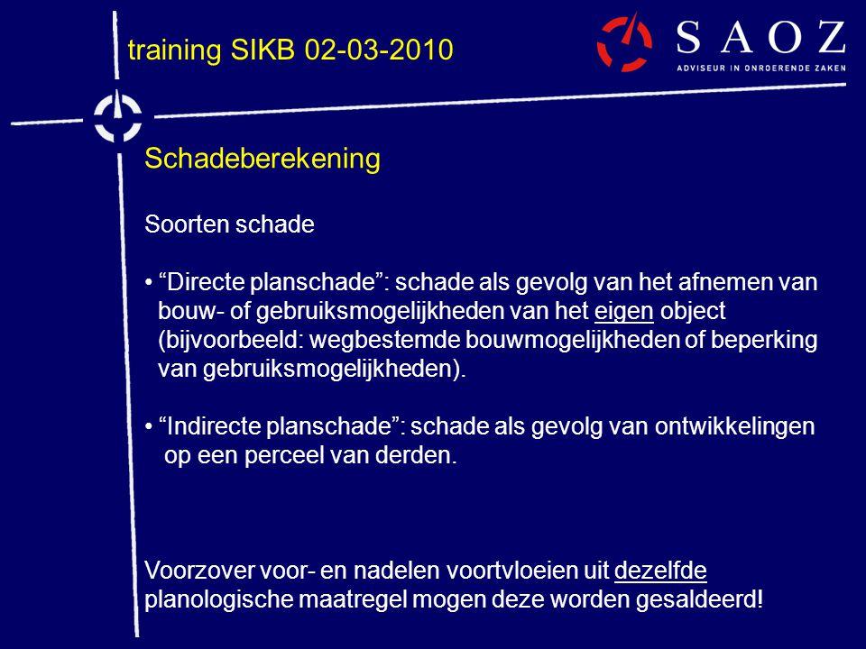 """training SIKB 02-03-2010 Schadeberekening Soorten schade • """"Directe planschade"""": schade als gevolg van het afnemen van bouw- of gebruiksmogelijkheden"""