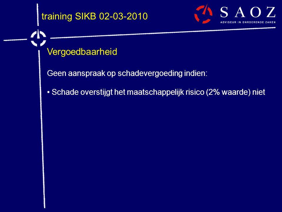 training SIKB 02-03-2010 Vergoedbaarheid Geen aanspraak op schadevergoeding indien: • Schade overstijgt het maatschappelijk risico (2% waarde) niet