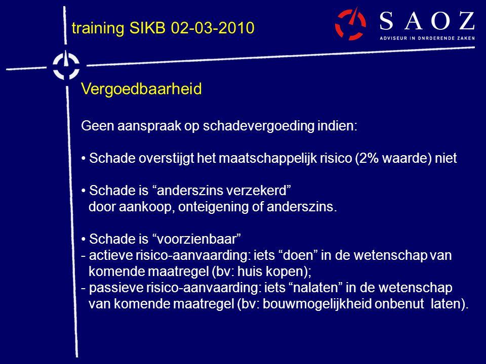training SIKB 02-03-2010 Vergoedbaarheid Geen aanspraak op schadevergoeding indien: • Schade overstijgt het maatschappelijk risico (2% waarde) niet •