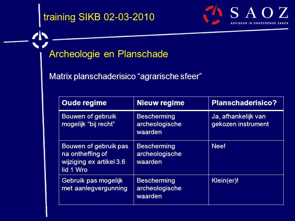 """training SIKB 02-03-2010 Archeologie en Planschade Matrix planschaderisico """"agrarische sfeer"""" Oude regimeNieuw regimePlanschaderisico? Bouwen of gebru"""