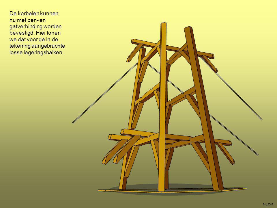 De korbelen kunnen nu met pen- en gatverbinding worden bevestigd. Hier tonen we dat voor de in de tekening aangebrachte losse legeringsbalken. © lg200