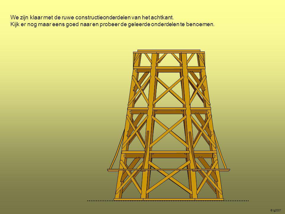 We zijn klaar met de ruwe constructieonderdelen van het achtkant. Kijk er nog maar eens goed naar en probeer de geleerde onderdelen te benoemen. © lg2