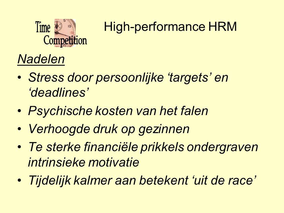 High-performance HRM Nadelen •Stress door persoonlijke 'targets' en 'deadlines' •Psychische kosten van het falen •Verhoogde druk op gezinnen •Te sterk