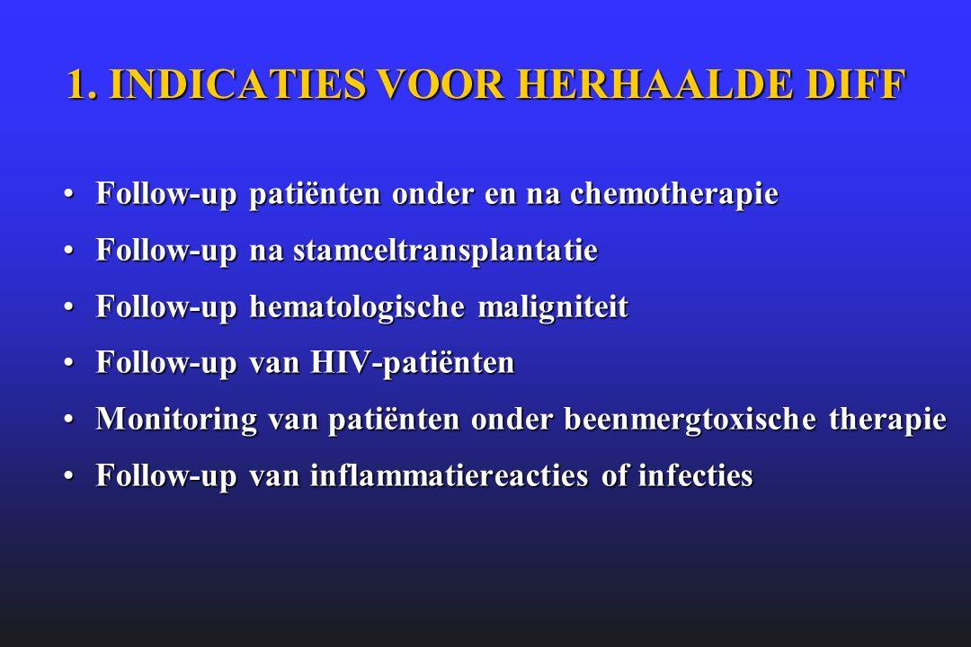 1. INDICATIES VOOR HERHAALDE DIFF •Follow-up patiënten onder en na chemotherapie •Follow-up na stamceltransplantatie •Follow-up hematologische maligni