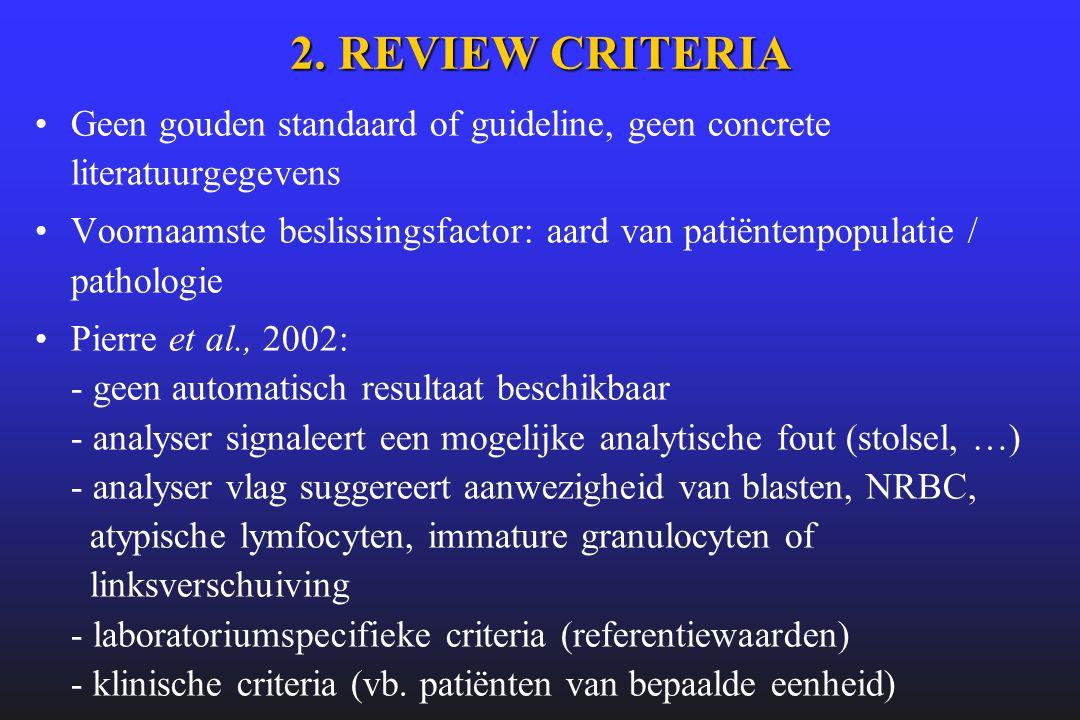 2. REVIEW CRITERIA •Geen gouden standaard of guideline, geen concrete literatuurgegevens •Voornaamste beslissingsfactor: aard van patiëntenpopulatie /