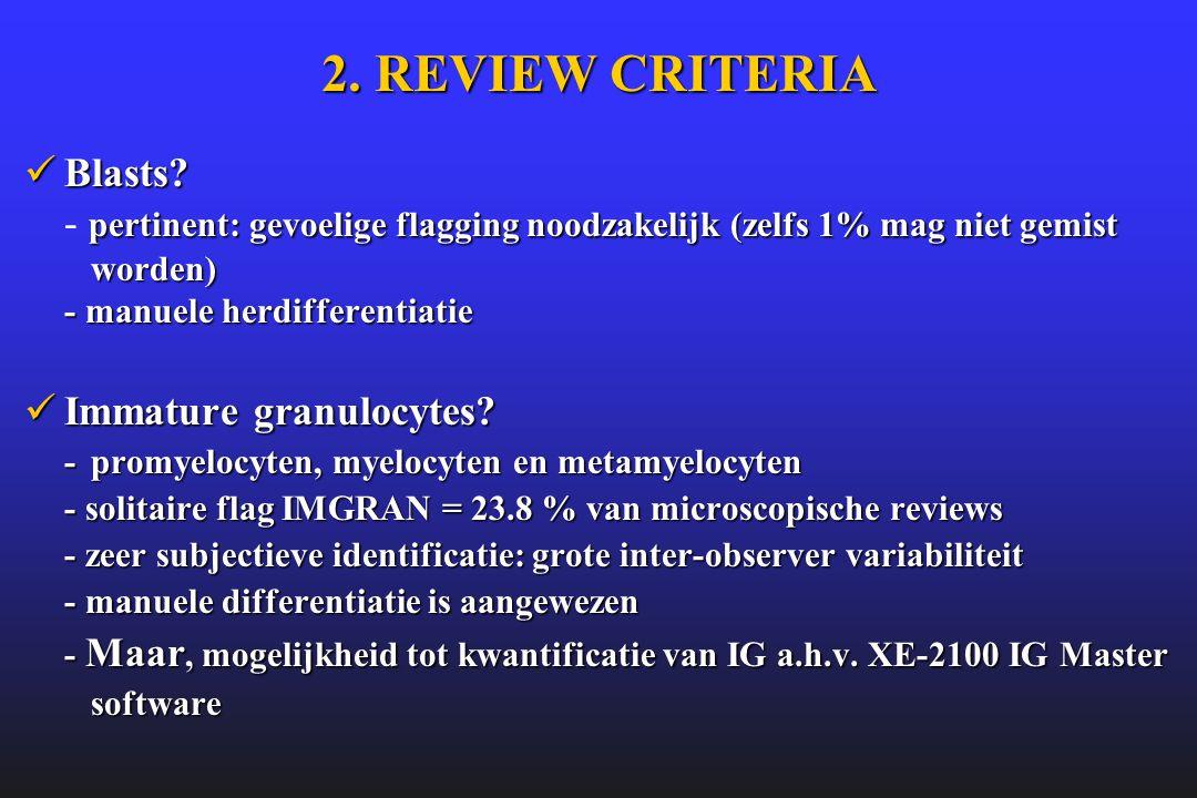 2. REVIEW CRITERIA  Blasts? pertinent: gevoelige flagging noodzakelijk (zelfs 1% mag niet gemist worden) - manuele herdifferentiatie  Blasts? - pert