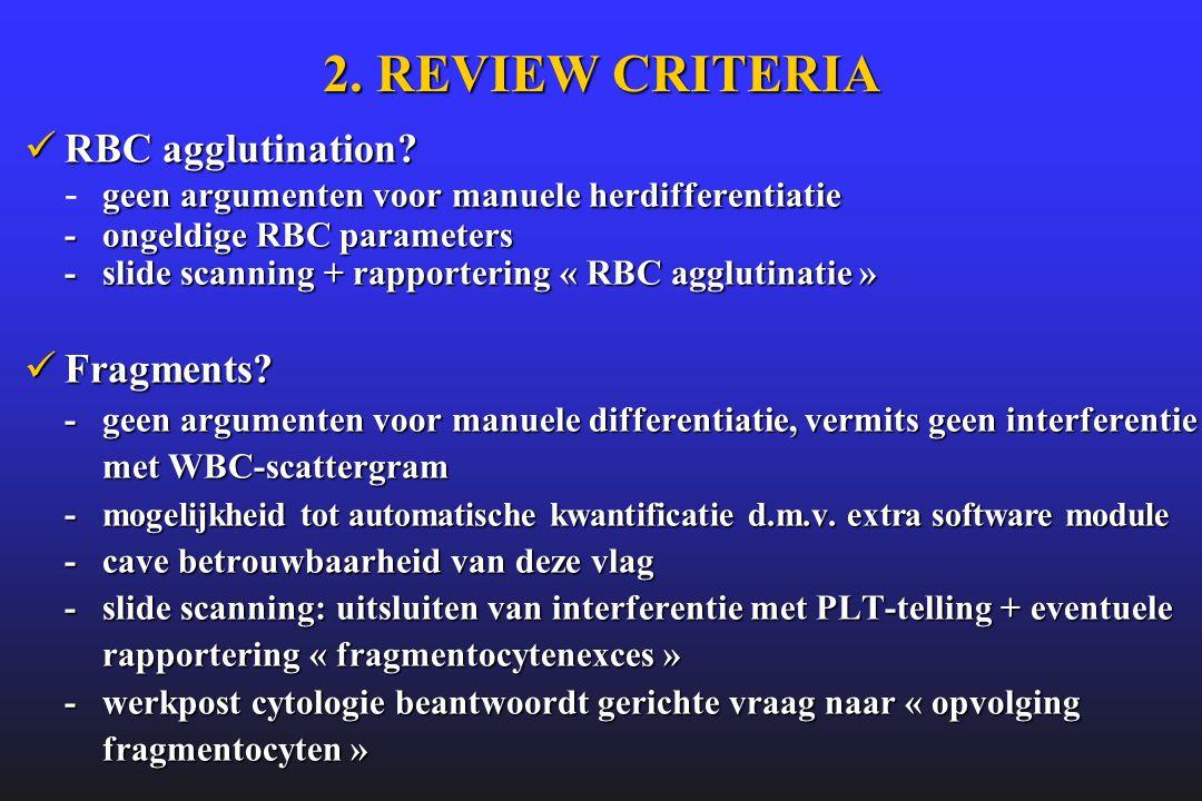 2. REVIEW CRITERIA  RBC agglutination? geen argumenten voor manuele herdifferentiatie -ongeldige RBC parameters - slide scanning + rapportering « RBC