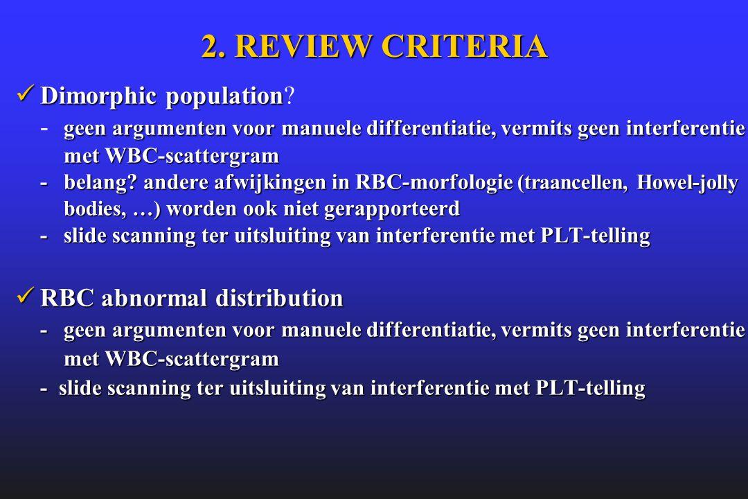 2. REVIEW CRITERIA  Dimorphic population geen argumenten voor manuele differentiatie, vermits geen interferentie met WBC-scattergram -belang? andere