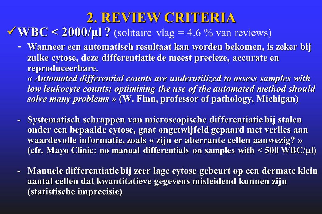 2. REVIEW CRITERIA  WBC < 2000/µl ? Wanneer een automatisch resultaat kan worden bekomen, is zeker bij zulke cytose, deze differentiatie de meest pre