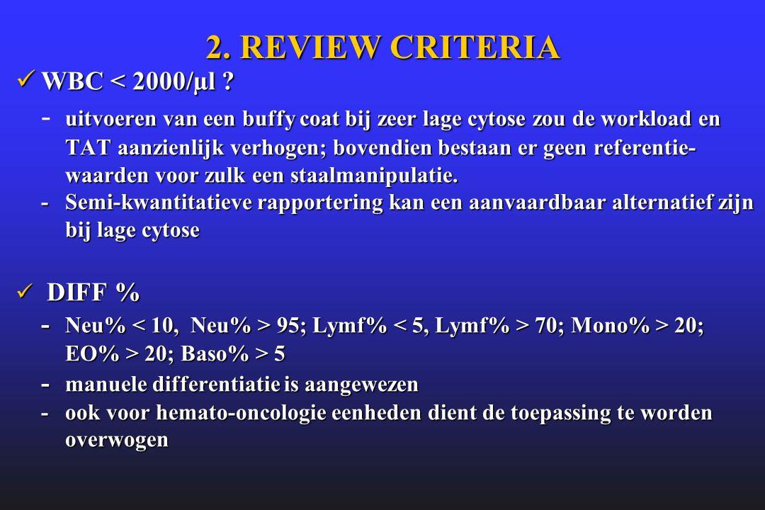 2. REVIEW CRITERIA  WBC < 2000/µl ? uitvoeren van een buffy coat bij zeer lage cytose zou de workload en TAT aanzienlijk verhogen; bovendien bestaan