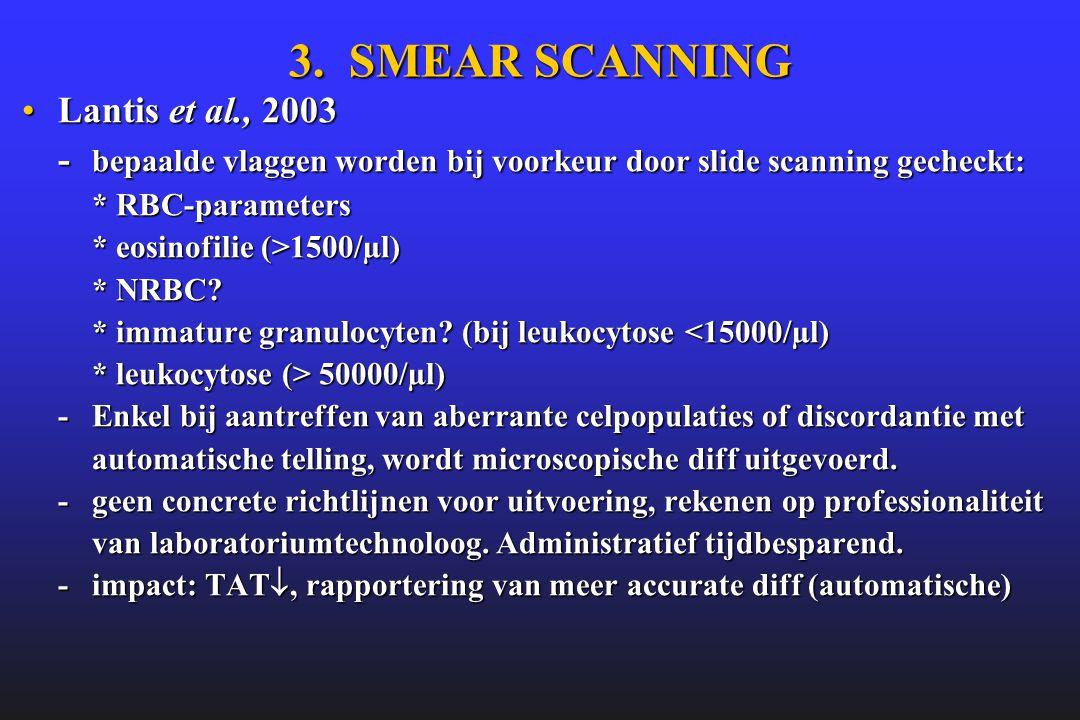 3. SMEAR SCANNING •Lantis et al., 2003 - bepaalde vlaggen worden bij voorkeur door slide scanning gecheckt: * RBC-parameters * eosinofilie (>1500/µl)