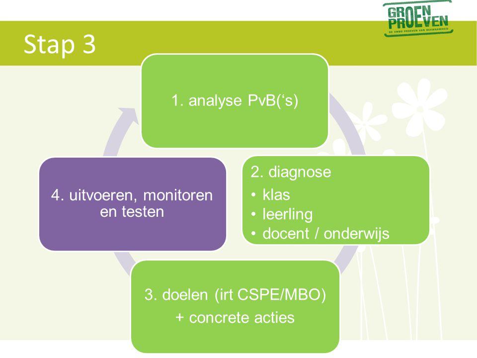Stap 3 1. analyse PvB('s) 2. diagnose •klas •leerling •docent / onderwijs 3. doelen (irt CSPE/MBO) + concrete acties 4. uitvoeren, monitoren en testen