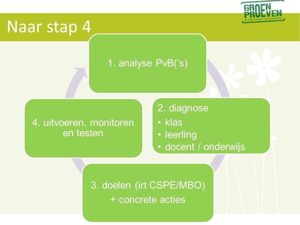 Naar stap 4 1. analyse PvB('s) 2. diagnose •klas •leerling •docent / onderwijs 3. doelen (irt CSPE/MBO) + concrete acties 4. uitvoeren, monitoren en t