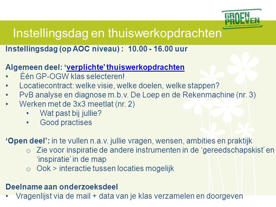 Instellingsdag en thuiswerkopdrachten Instellingsdag (op AOC niveau) : 10.00 - 16.00 uur Algemeen deel: 'verplichte' thuiswerkopdrachtenverplichte' th