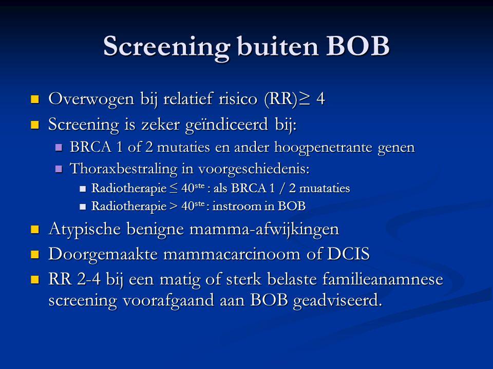 Screening buiten BOB  Overwogen bij relatief risico (RR)≥ 4  Screening is zeker geïndiceerd bij:  BRCA 1 of 2 mutaties en ander hoogpenetrante gene