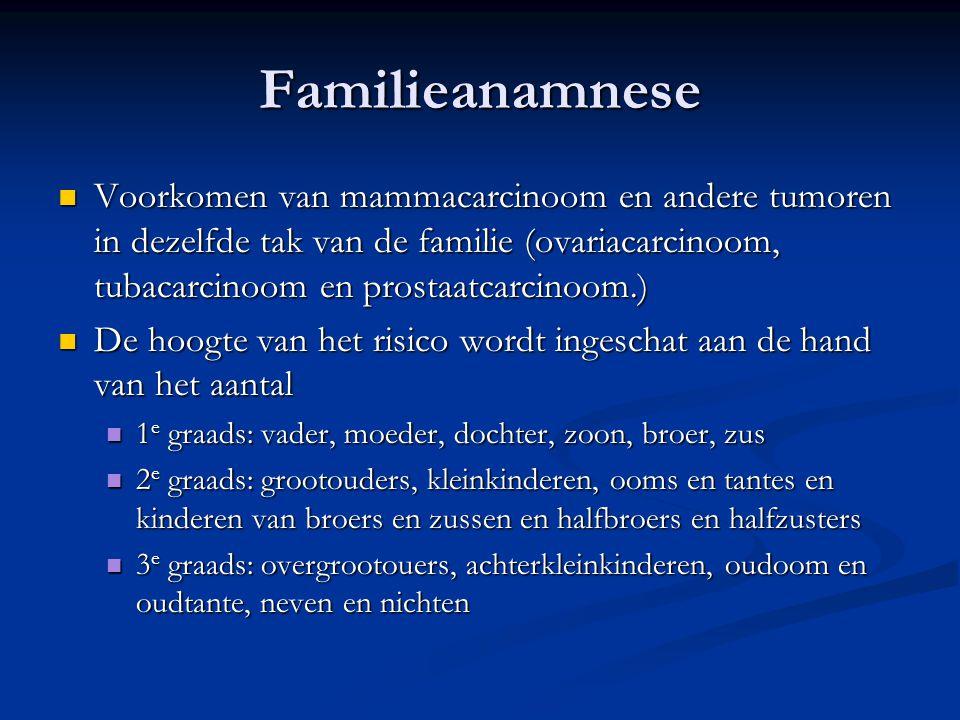 Familieanamnese  Voorkomen van mammacarcinoom en andere tumoren in dezelfde tak van de familie (ovariacarcinoom, tubacarcinoom en prostaatcarcinoom.)