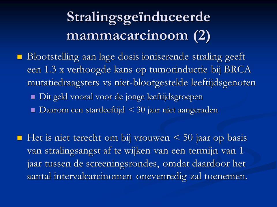 Stralingsgeïnduceerde mammacarcinoom (2)  Blootstelling aan lage dosis ioniserende straling geeft een 1.3 x verhoogde kans op tumorinductie bij BRCA