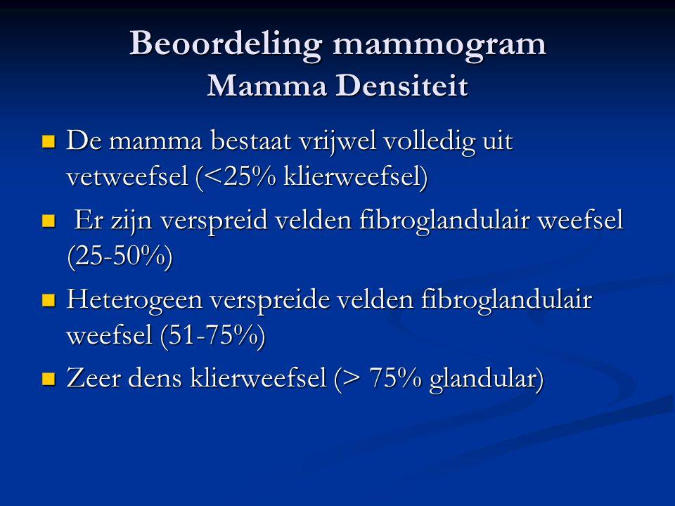 Beoordeling mammogram Mamma Densiteit  De mamma bestaat vrijwel volledig uit vetweefsel (<25% klierweefsel)  Er zijn verspreid velden fibroglandulai