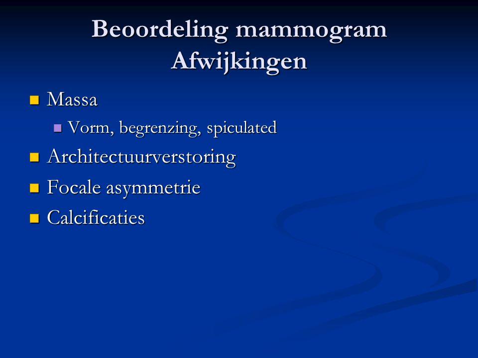 Beoordeling mammogram Afwijkingen  Massa  Vorm, begrenzing, spiculated  Architectuurverstoring  Focale asymmetrie  Calcificaties
