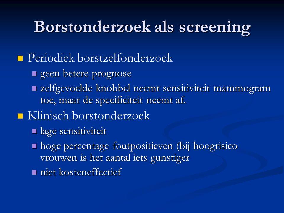Borstonderzoek als screening   Periodiek borstzelfonderzoek  geen betere prognose  zelfgevoelde knobbel neemt sensitiviteit mammogram toe, maar de