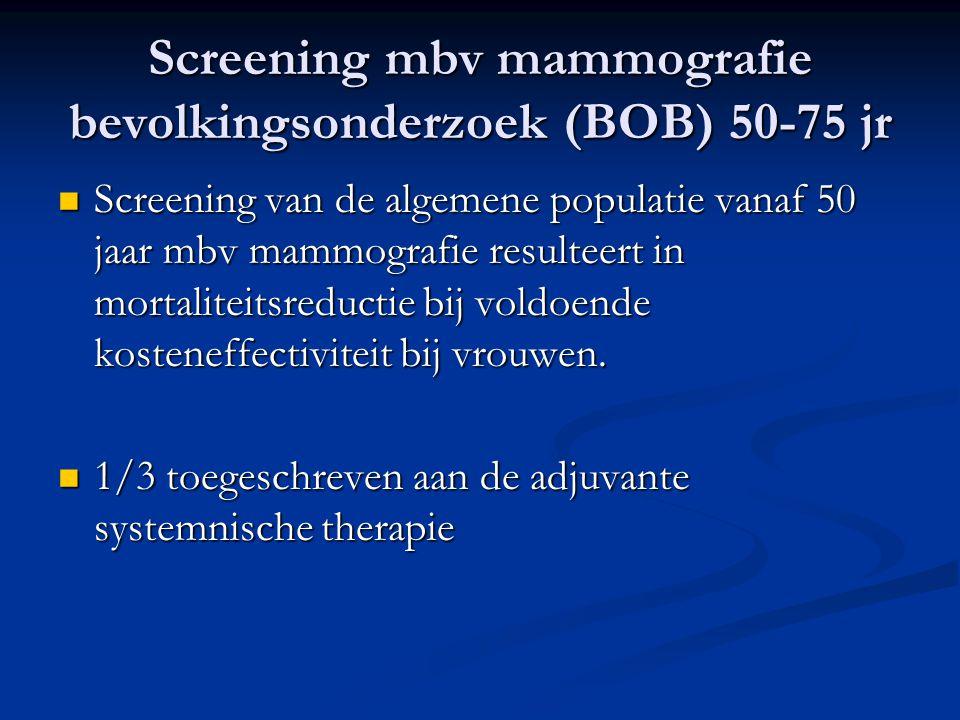 Screening buiten BOB  Overwogen bij relatief risico (RR)≥ 4  Screening is zeker geïndiceerd bij:  BRCA 1 of 2 mutaties en ander hoogpenetrante genen  Thoraxbestraling in voorgeschiedenis:  Radiotherapie ≤ 40 ste : als BRCA 1 / 2 muataties  Radiotherapie > 40 ste : instroom in BOB  Atypische benigne mamma-afwijkingen  Doorgemaakte mammacarcinoom of DCIS  RR 2-4 bij een matig of sterk belaste familieanamnese screening voorafgaand aan BOB geadviseerd.