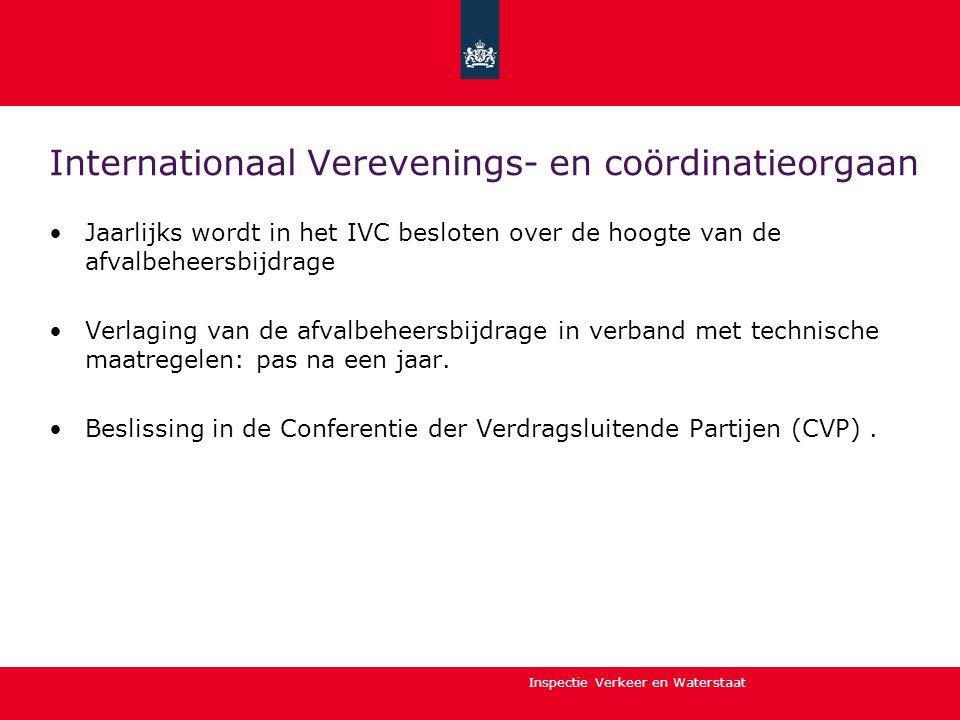 Inspectie Verkeer en Waterstaat Internationaal Verevenings- en coördinatieorgaan •Jaarlijks wordt in het IVC besloten over de hoogte van de afvalbehee