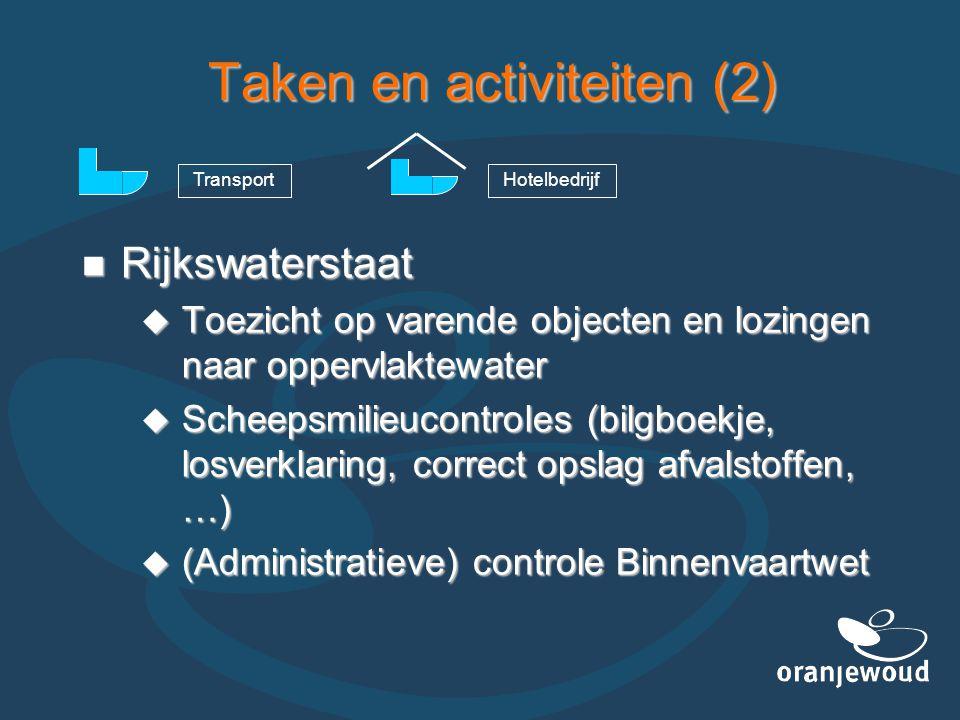 Taken en activiteiten (2)  Rijkswaterstaat  Toezicht op varende objecten en lozingen naar oppervlaktewater  Scheepsmilieucontroles (bilgboekje, los