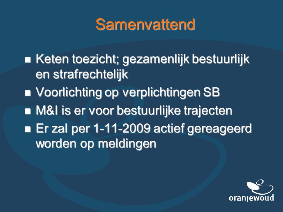 Samenvattend  Keten toezicht; gezamenlijk bestuurlijk en strafrechtelijk  Voorlichting op verplichtingen SB  M&I is er voor bestuurlijke trajecten