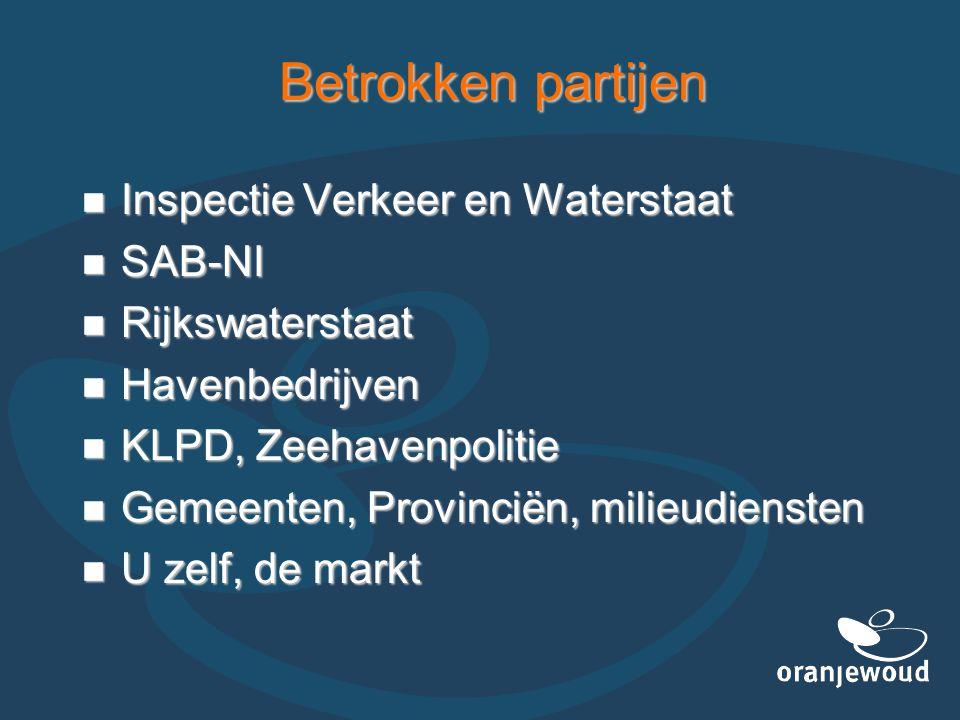 Betrokken partijen  Inspectie Verkeer en Waterstaat  SAB-NI  Rijkswaterstaat  Havenbedrijven  KLPD, Zeehavenpolitie  Gemeenten, Provinciën, mili