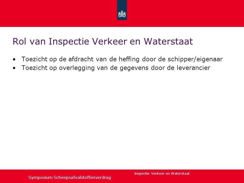 Inspectie Verkeer en Waterstaat Rol van Inspectie Verkeer en Waterstaat •Toezicht op de afdracht van de heffing door de schipper/eigenaar •Toezicht op