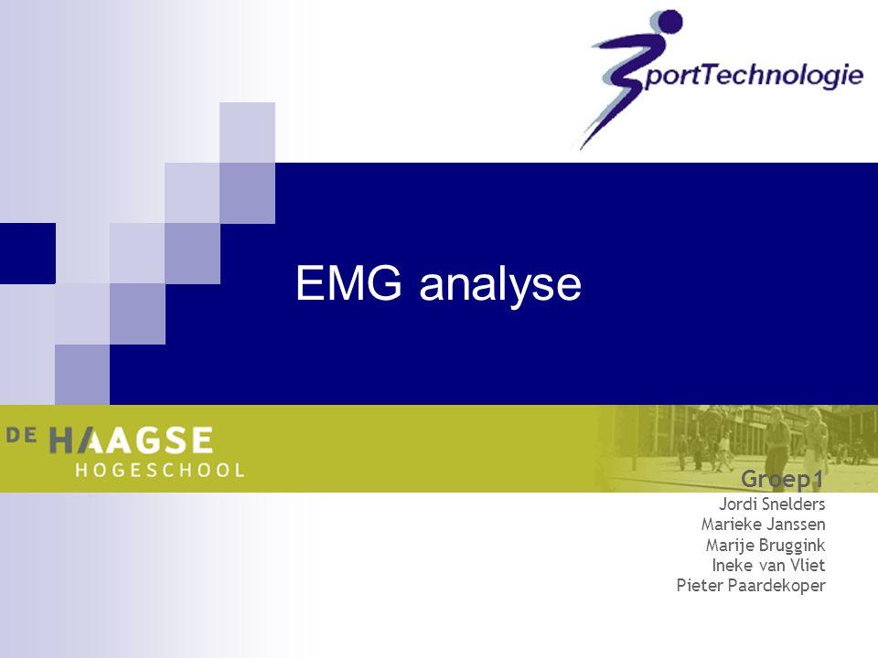 EMG analyse Groep1 Jordi Snelders Marieke Janssen Marije Bruggink Ineke van Vliet Pieter Paardekoper