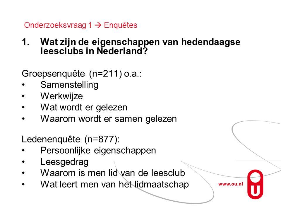 Onderzoeksvraag 1  Enquêtes 1.Wat zijn de eigenschappen van hedendaagse leesclubs in Nederland? Groepsenquête (n=211) o.a.: •Samenstelling •Werkwijze
