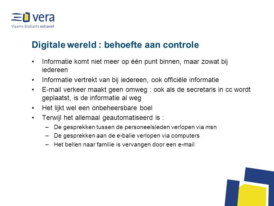 Digitale wereld : behoefte aan controle •Informatie komt niet meer op één punt binnen, maar zowat bij iedereen •Informatie vertrekt van bij iedereen,