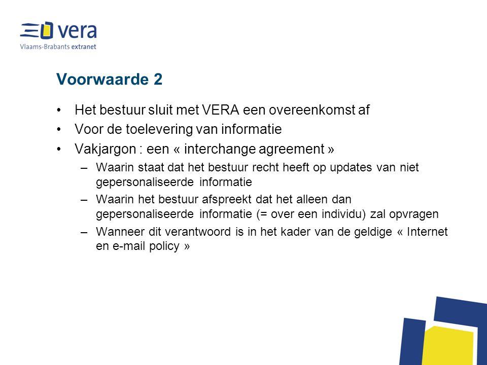 Voorwaarde 2 •Het bestuur sluit met VERA een overeenkomst af •Voor de toelevering van informatie •Vakjargon : een « interchange agreement » –Waarin st