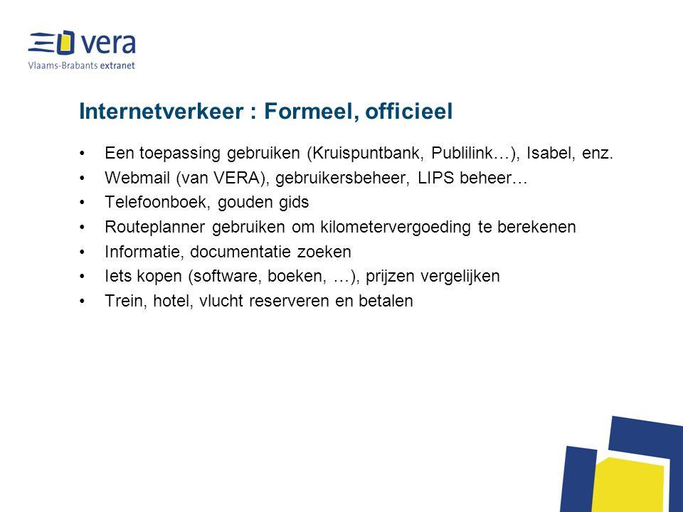 Internetverkeer : Formeel, officieel •Een toepassing gebruiken (Kruispuntbank, Publilink…), Isabel, enz. •Webmail (van VERA), gebruikersbeheer, LIPS b