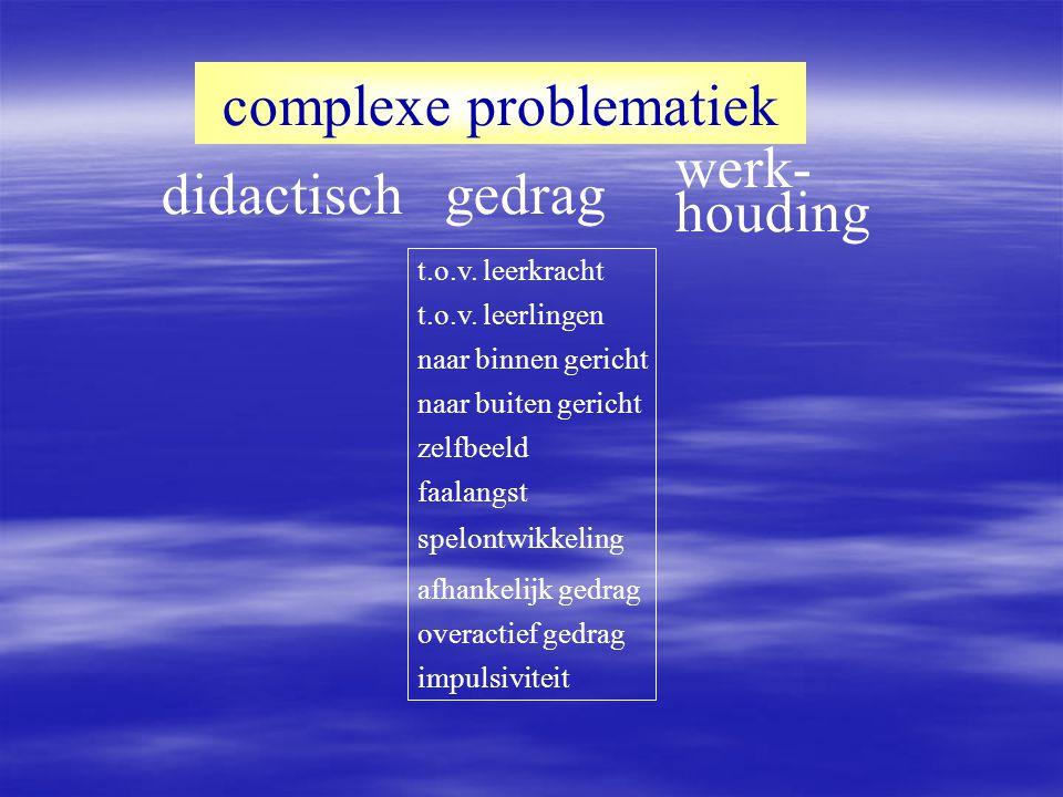 didactisch complexe problematiek gedrag werk- houding concentratie zelfbeeld motivatie inzet werktempo zelfstandigheid geheugen