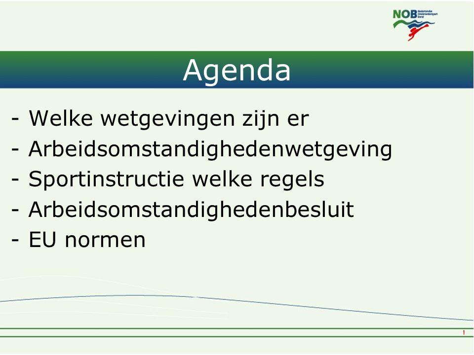 Agenda -Welke wetgevingen zijn er -Arbeidsomstandighedenwetgeving -Sportinstructie welke regels -Arbeidsomstandighedenbesluit -EU normen